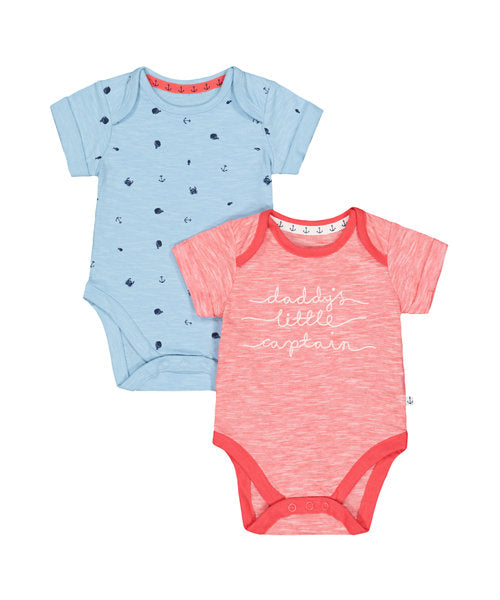 DADDYS LITTLE CAPTAIN AND FISH BODYSUITS - 2 PACK