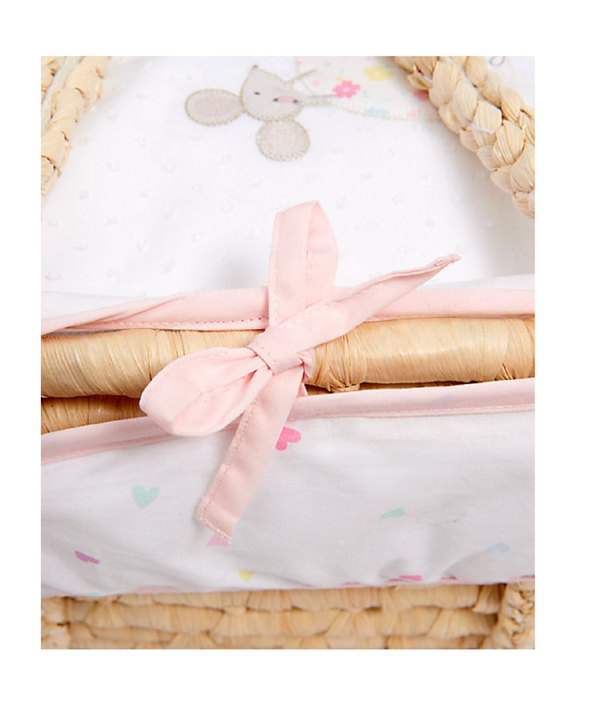 MOTHERCARE CONFETTI PARTY MOSES BASKET - PINK
