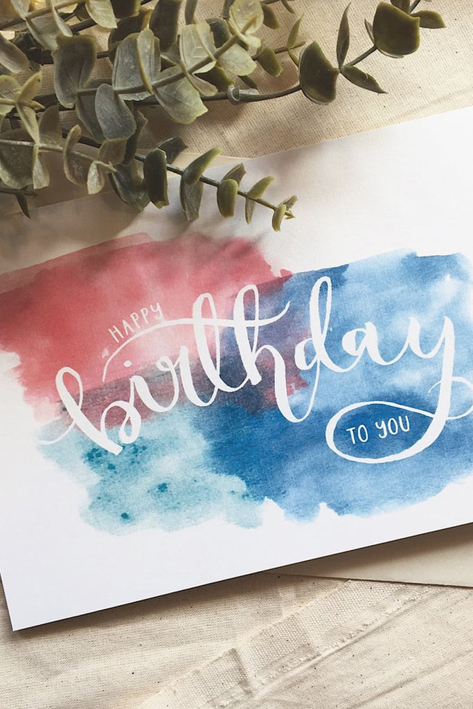 HAPPY BIRTHDAY TO YOU | WATERCOLOUR RAINBOW CARD