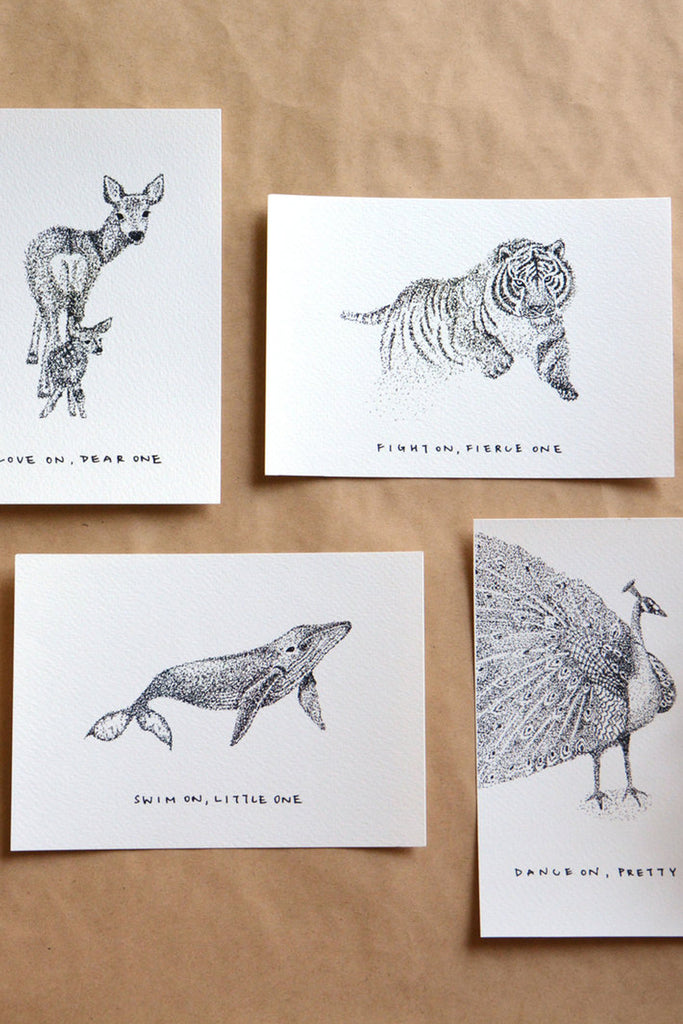SURVIVAL SERIES | POINTILISM ANIMAL POSTCARDS