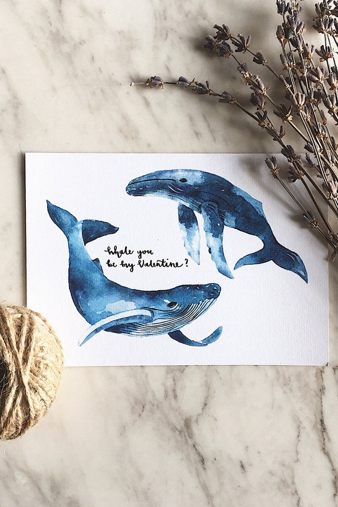 WHALE YOU BE MY VALENTINE | WATERCOLOR CARD