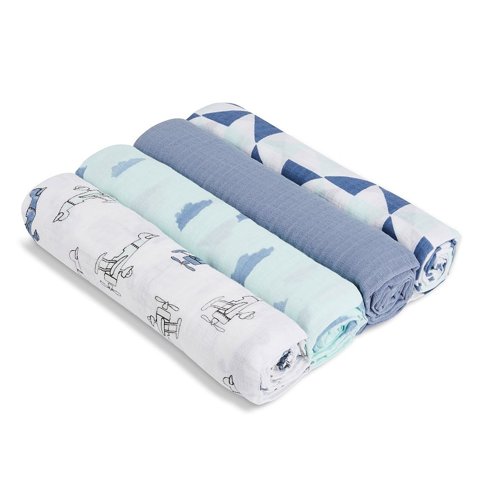 ADEN + ANAIS MUSLIN SWADDLE - SKY HIGH 4 PACK