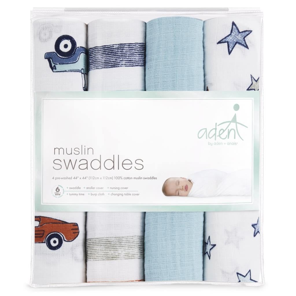 ADEN + ANAIS MUSLIN SWADDLES - HIT THE ROAD 4 PK