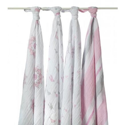 ADEN + ANAIS MUSLIN SWADDLE - FOR THE BIRDS 4 PACK