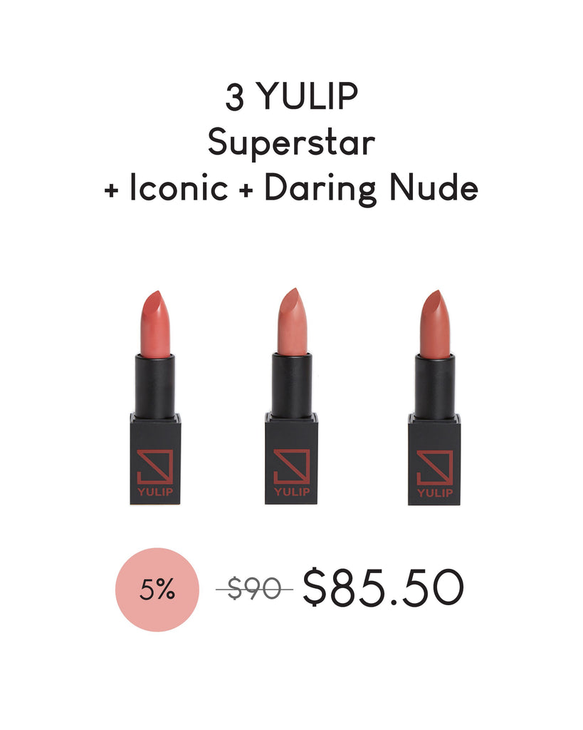 LAUNCH DEAL - 3 YULIP LIPSTICK (SUPERSTAR + ICONIC + DARING NUDE)