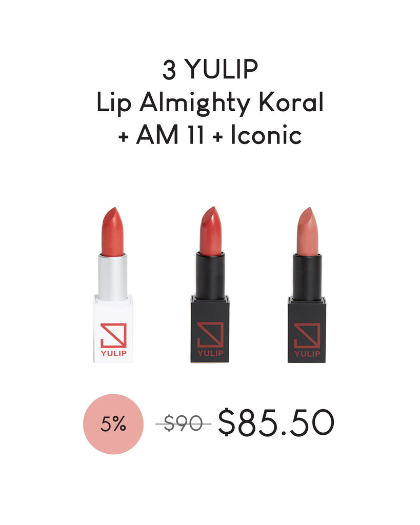 LAUNCH DEAL - 3 YULIP LIPSTICK (LIP ALMIGHTY KORAL + AM 11:00 + ICONIC)