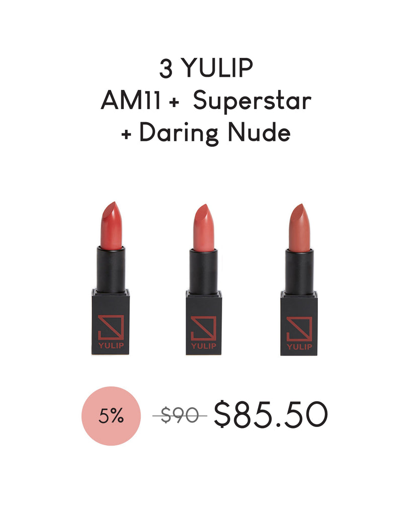 LAUNCH DEAL - 3 YULIP LIPSTICK (AM 11:00 + SUPERSTAR + DARING NUDE)