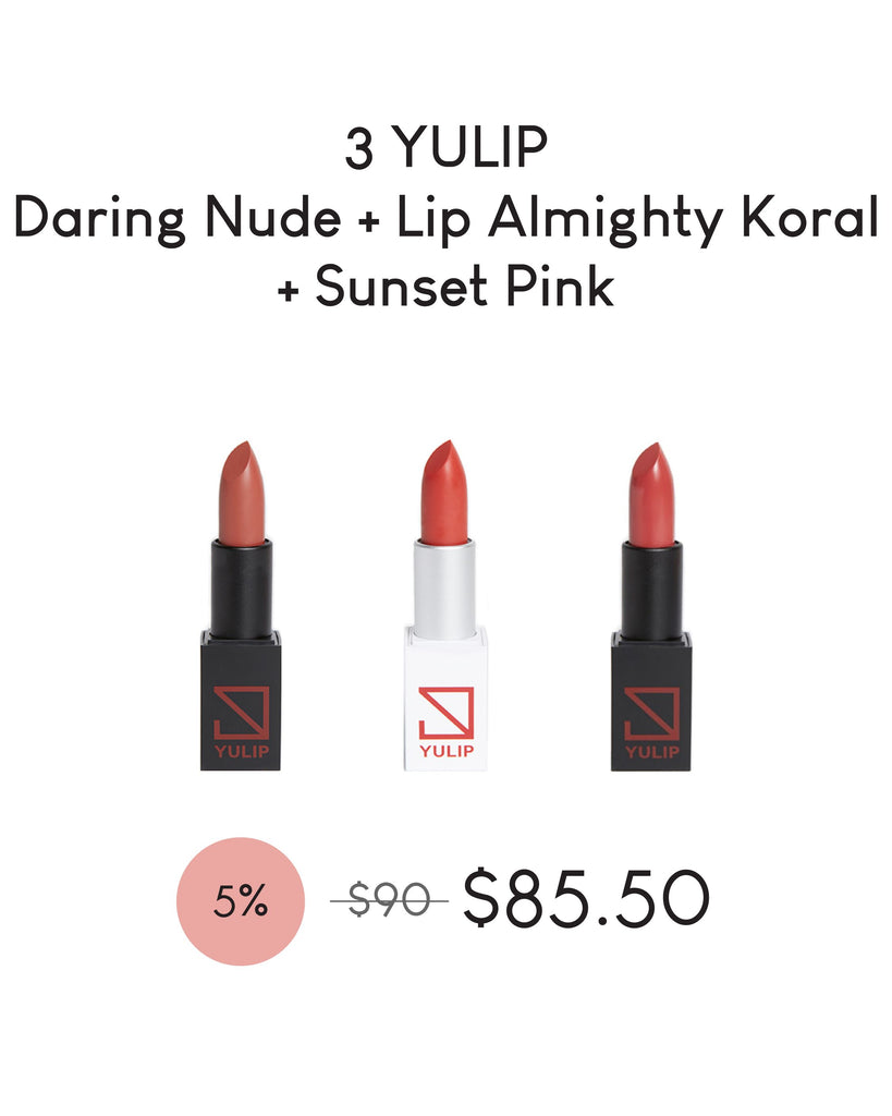 LAUNCH DEAL - 3 YULIP LIPSTICK (DARING NUDE + LIP ALMIGHTY KORAL + SUNSET PINK)