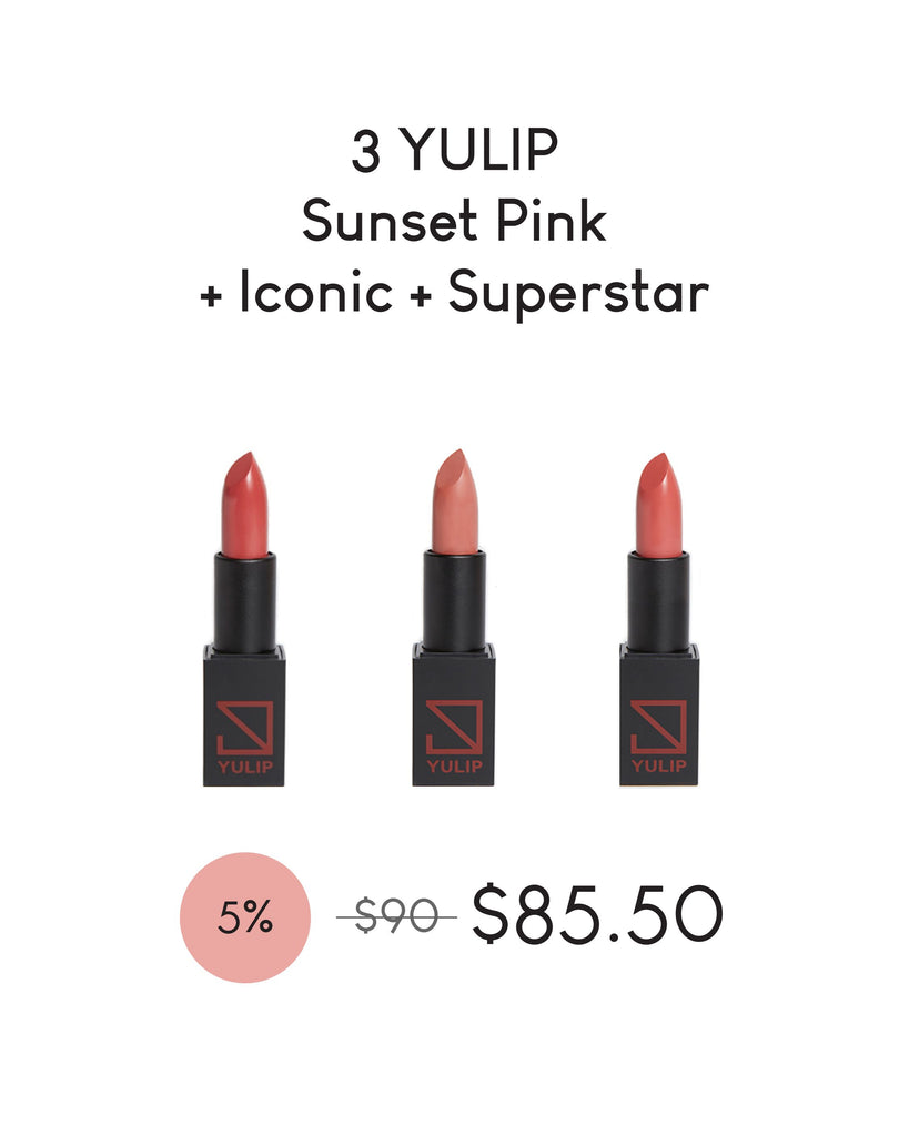 LAUNCH DEAL - 3 YULIP LIPSTICK (SUNSET PINK + ICONIC + SUPERSTAR)