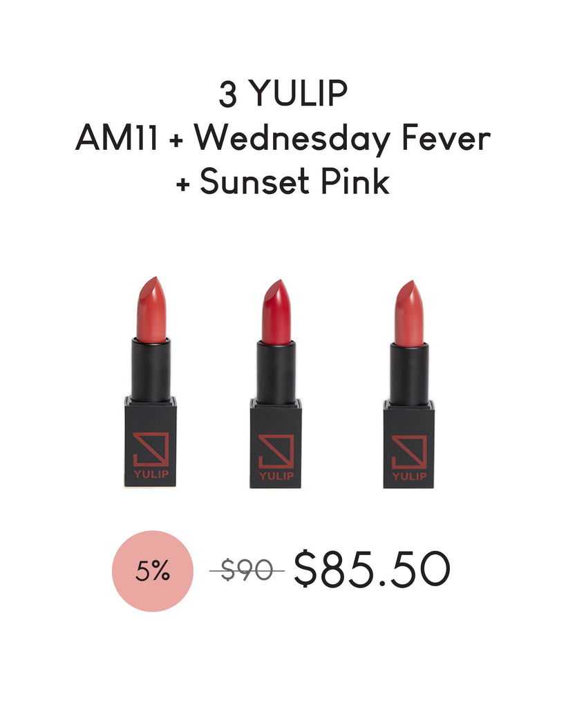 LAUNCH DEAL - 3 YULIP LIPSTICK (AM11:00 + WEDNESDAY FEVER + SUNSET PINK)