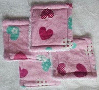 Reusable Cotton Pads Pink Hearts