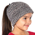 KIDS HANDMADE SOFT KNIT BEANIE THAT'S PERFECT FOR PONYTAILS & BUNS