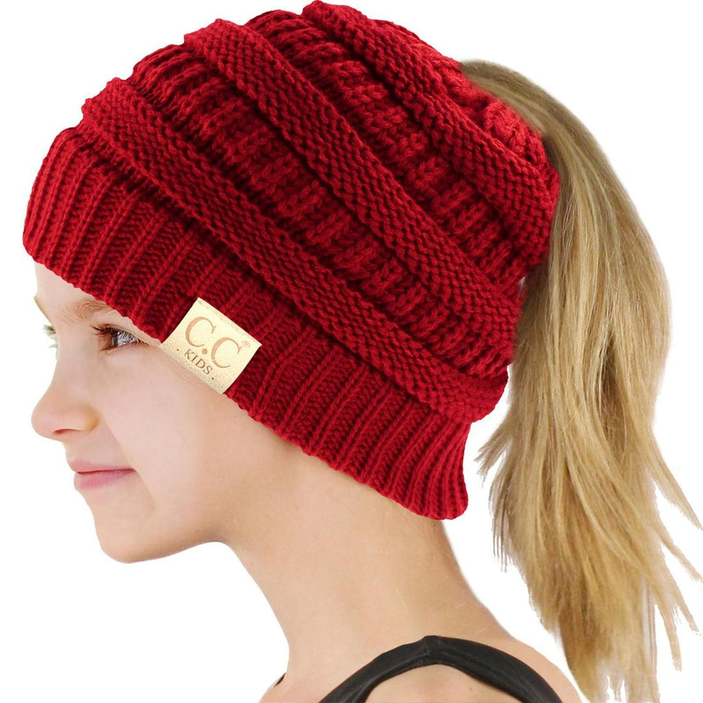 c805558a70cefa KIDS HANDMADE SOFT KNIT BEANIE THAT'S PERFECT FOR PONYTAILS & BUNS ...