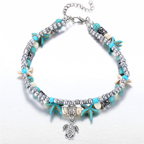 HANDMADE SEA TURTLE & SHELLS ANKLET