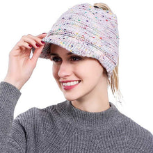 Load image into Gallery viewer, Ponytail Beanie Hat Knitted Winter Cap