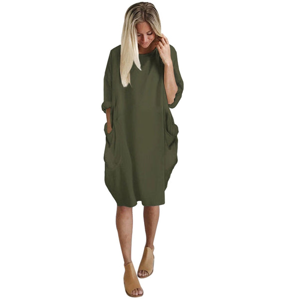 Robe Urban Casual poche large vert armée