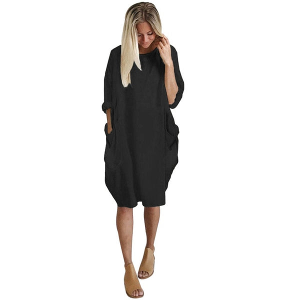 Robe Urban Casual poche large noir
