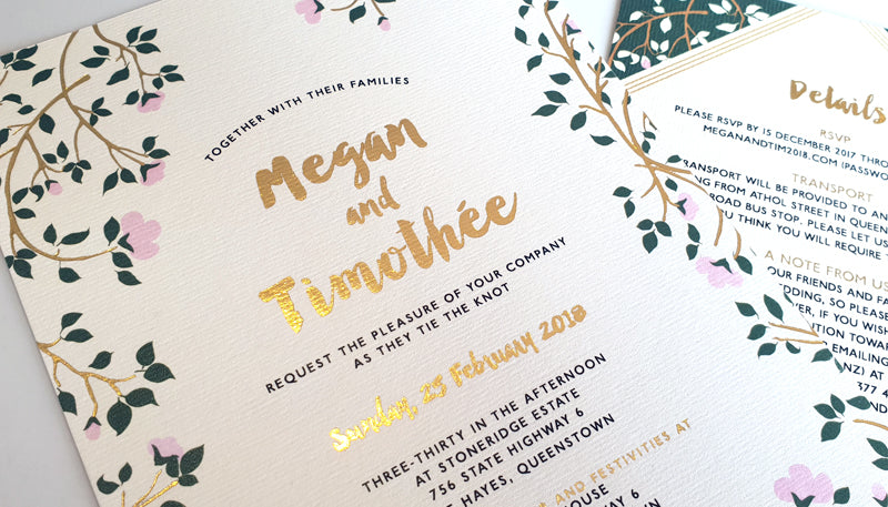 gold foil custom made wedding invitations