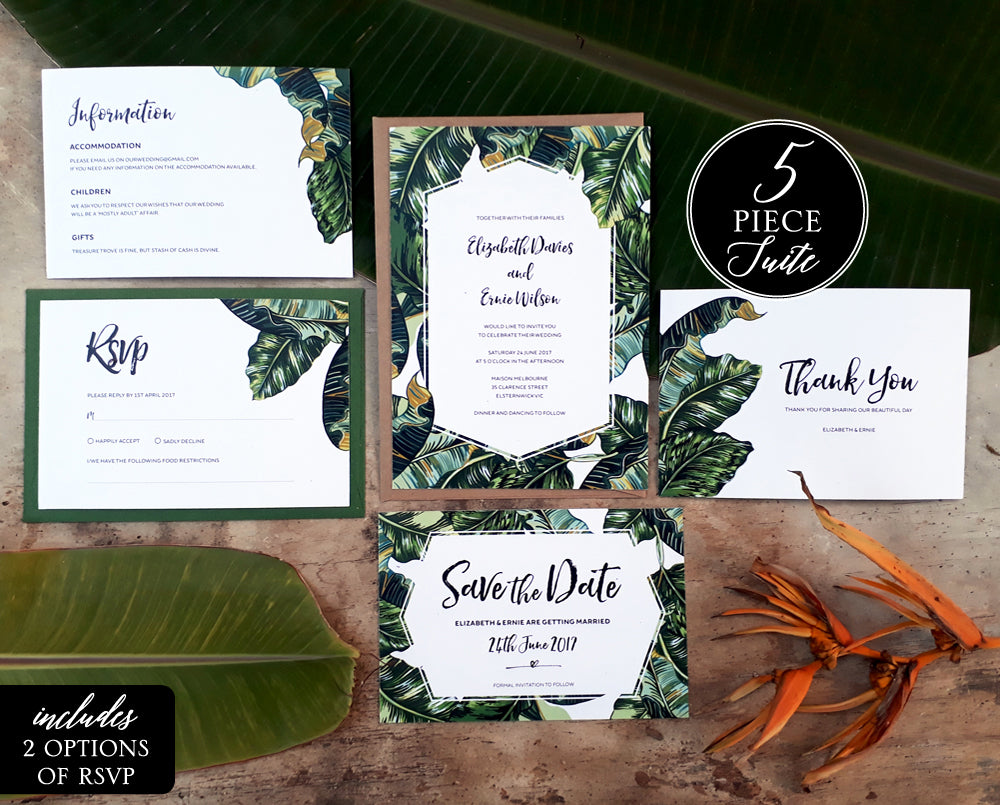 Tropical Printable Wedding Stationery