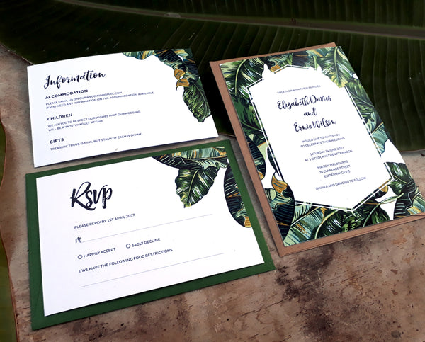 Tropical Printable Wedding Stationery Instant Download