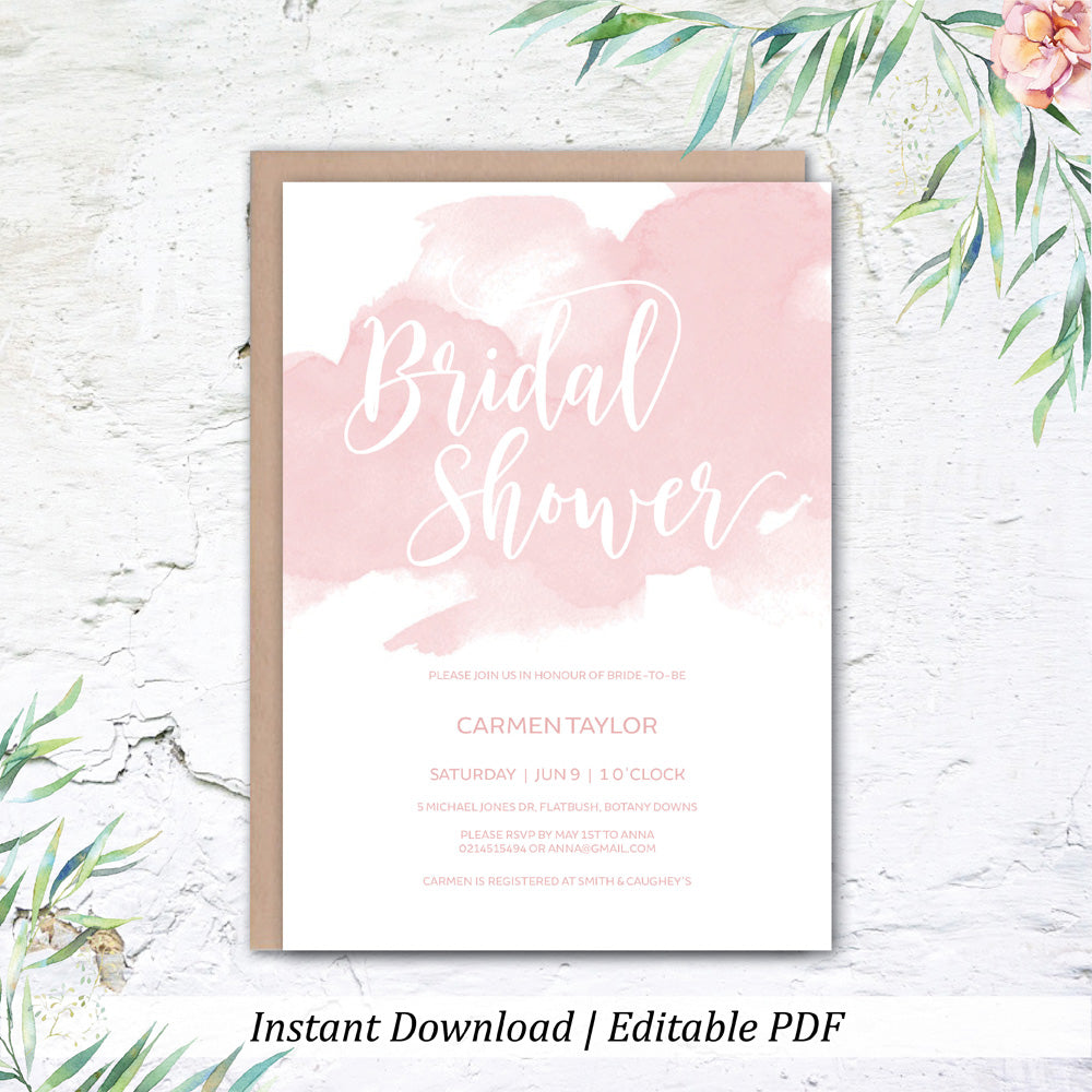 Blush Bridal Shower Printable Invitation Template Instant Download Wedding