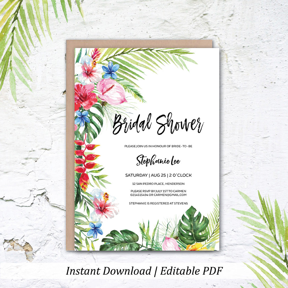Tropical Floral Hawaiian Bridal Shower Printable Invitation Template Instant Download Wedding