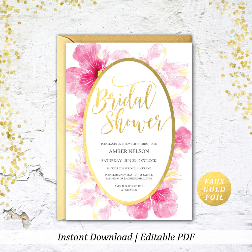 Pink Gold Hibiscus Tropical Bridal Shower Printable Invitation Template Instant Download Wedding