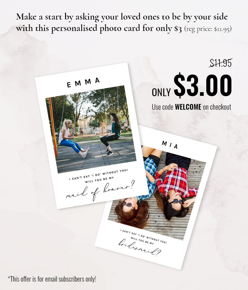 Will you be my bridesmaid photo card for $3