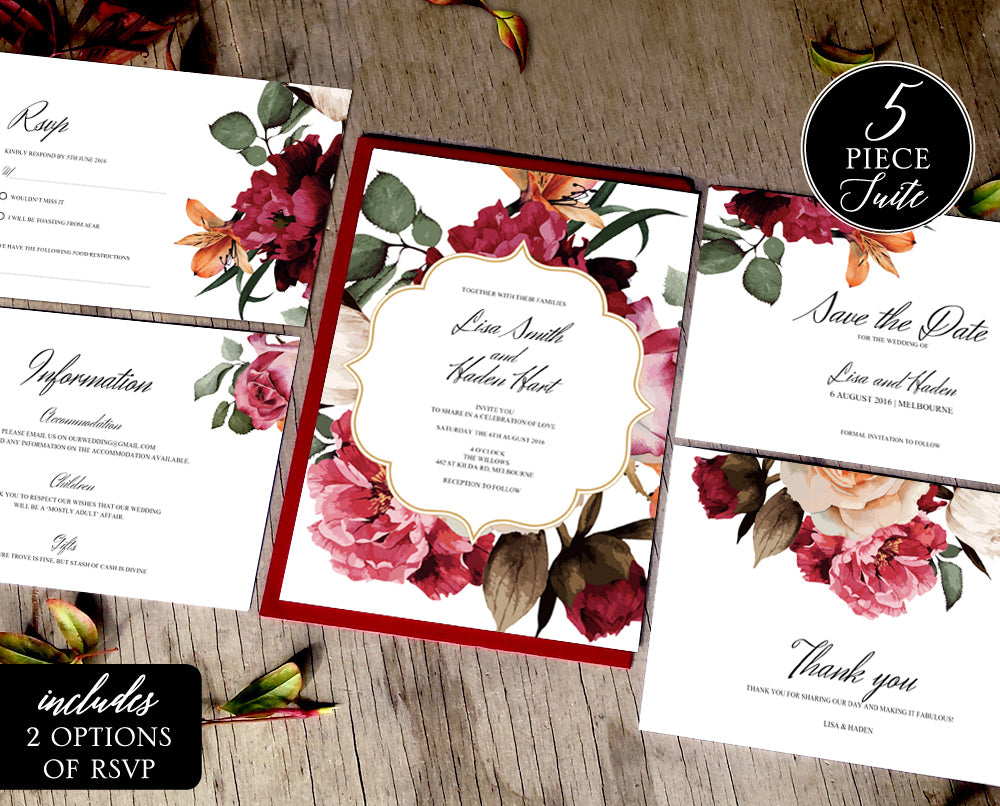 burgundy floral wedding invitations suite