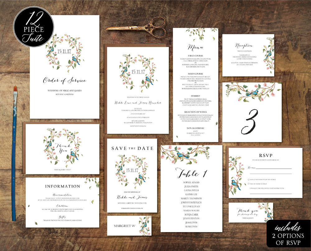 Floral wedding invitation template greenery