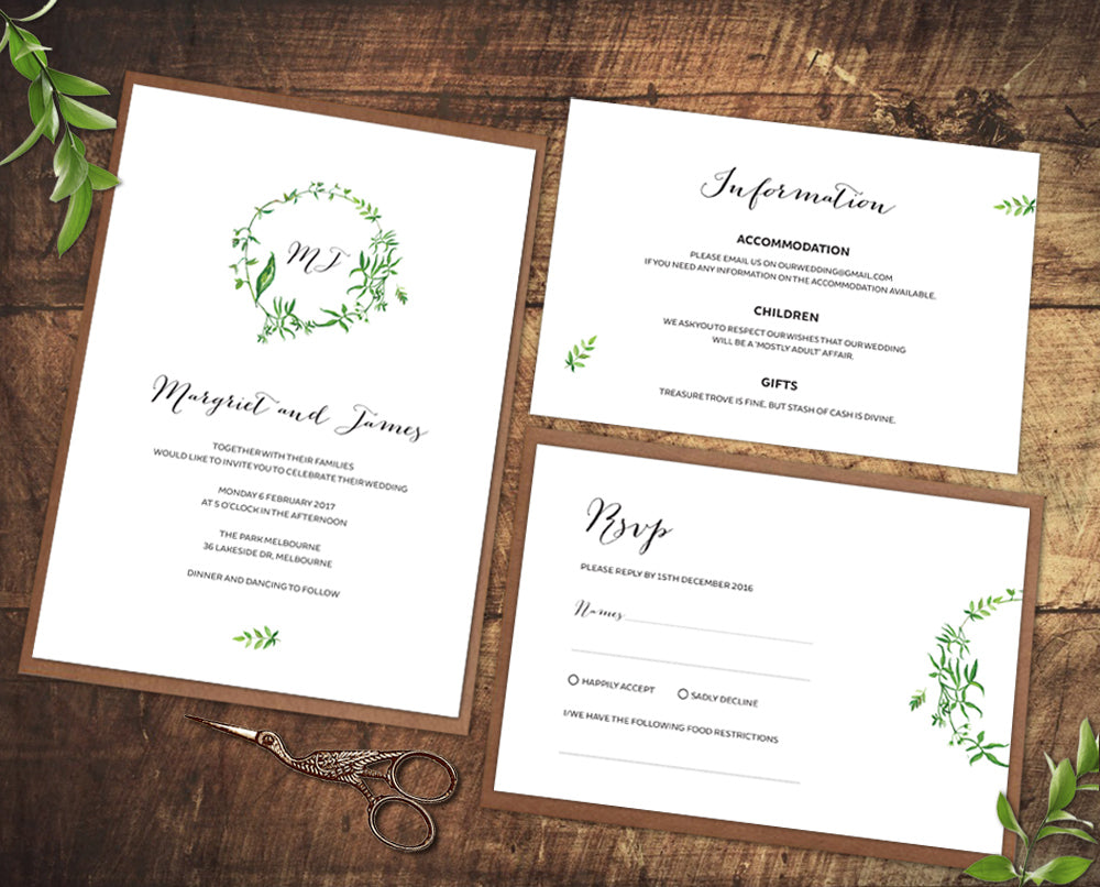 minimal green leaf wedding invitation set