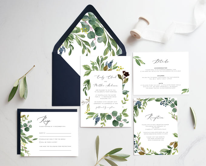 greenery wedding printable invitation template
