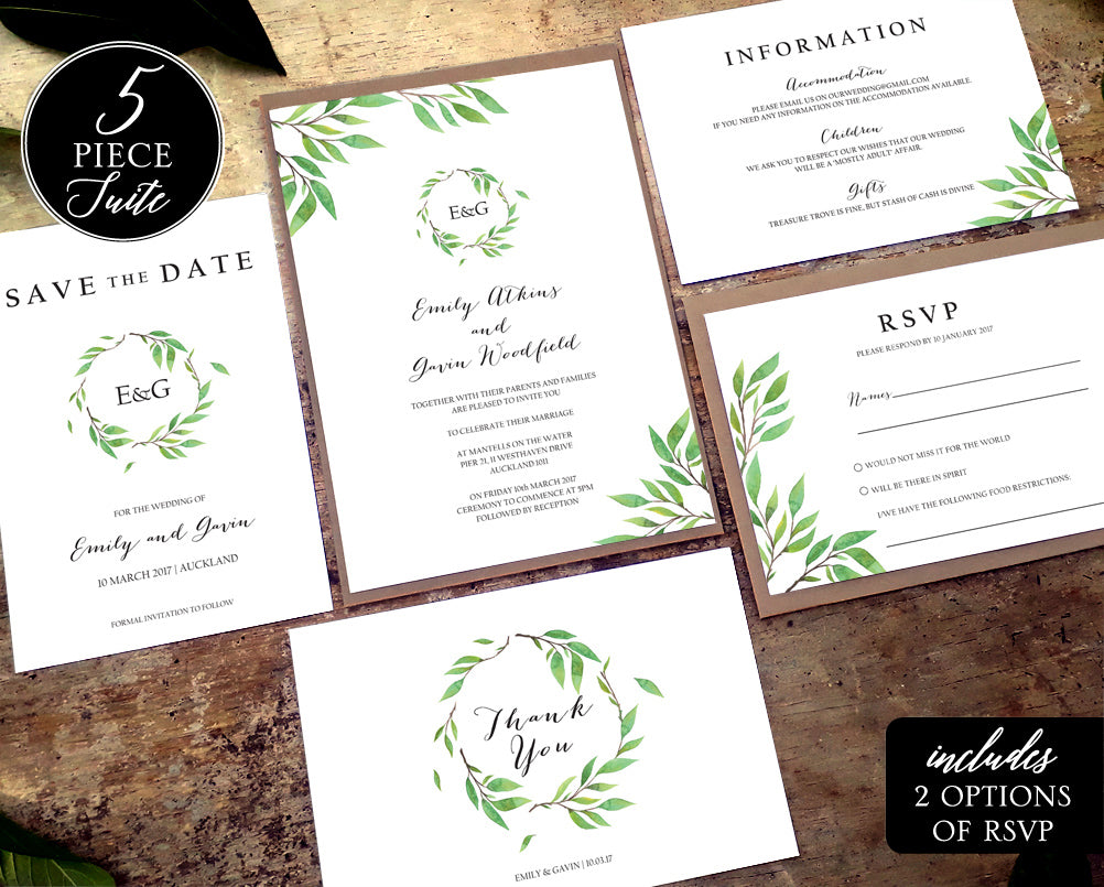 green leaf wreath wedding invitation suite