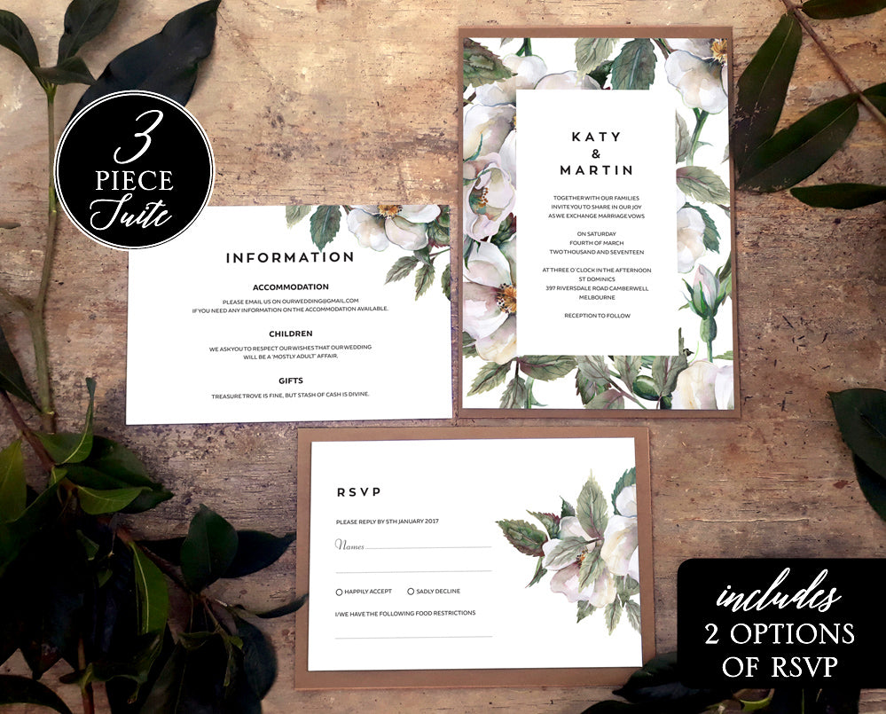 magnolia floral wedding invitation template