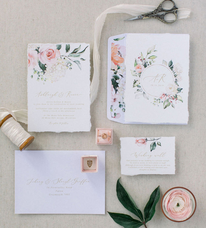 blush floral custom design deckled edge wedding invitation