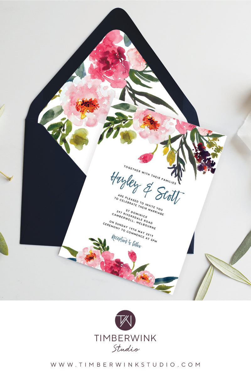 watercolour pink peony wedding invitation printable template