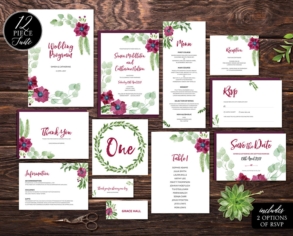 purple floral wedding invitation template