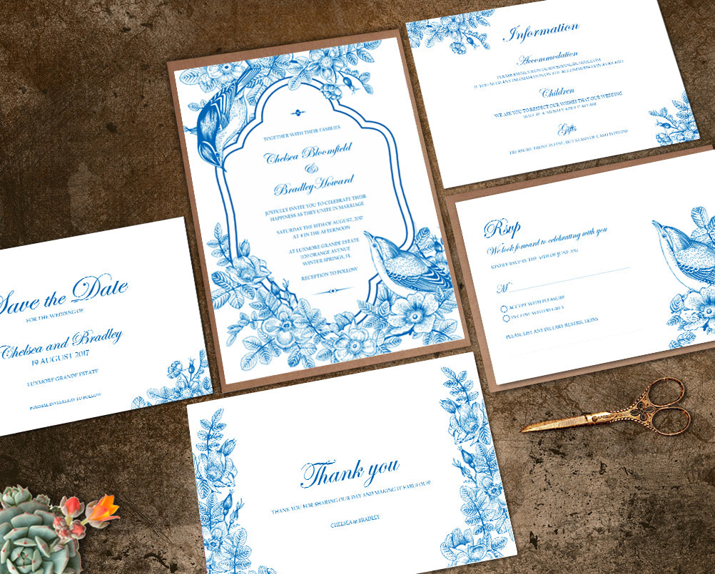 blue vintage wedding invitation suite