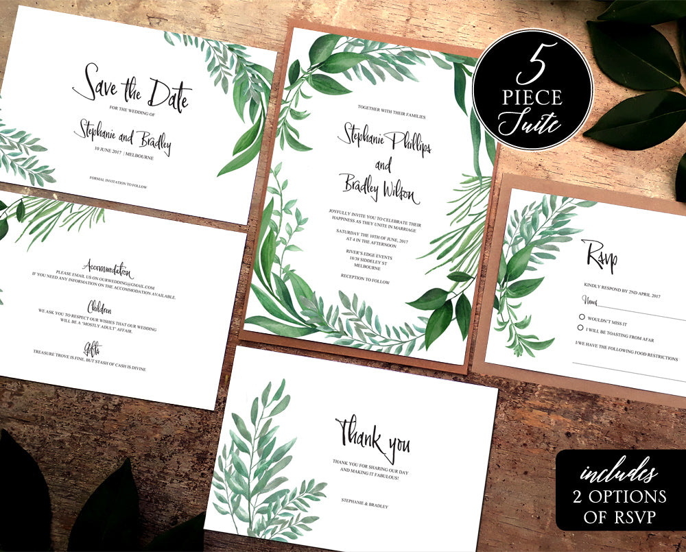 botanical wedding invitation greenery template
