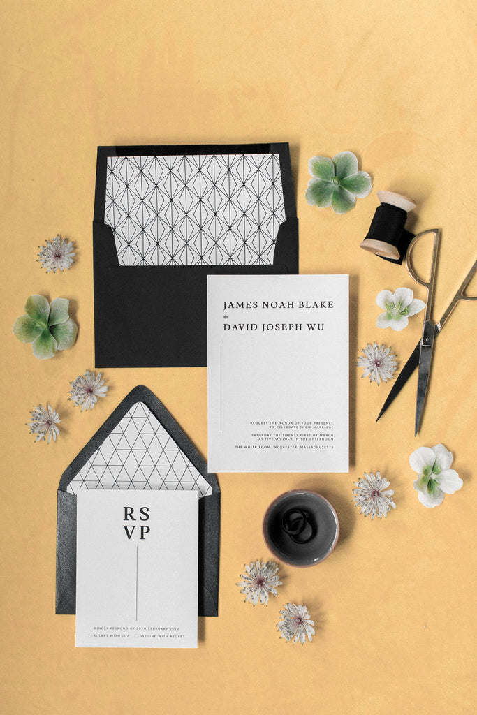 Modern Wedding Invitations Black and White