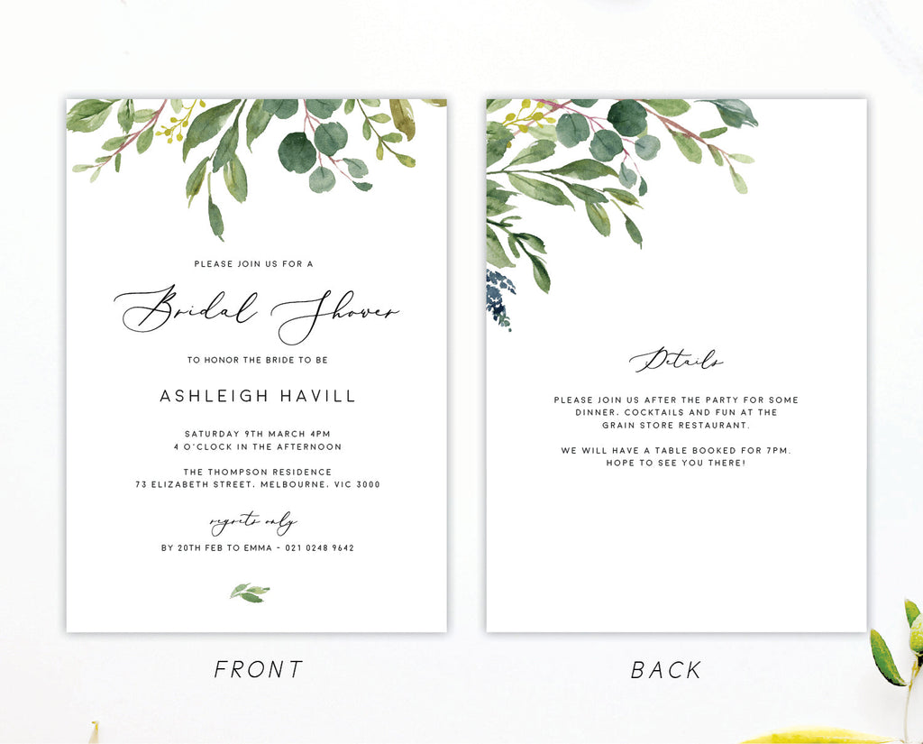 Greenery Wedding Eucalyptus Bridal Shower Invitation Printable Template Instant Download Templett 100% Editable PDF