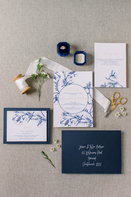 Navy Floral Reception Card Printable Template