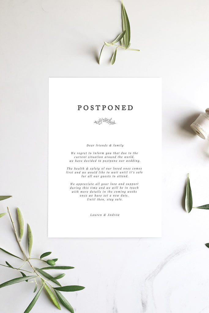 Formal & Minimalist Wedding Postponement Card Printable Template Instant Download Templett PDF