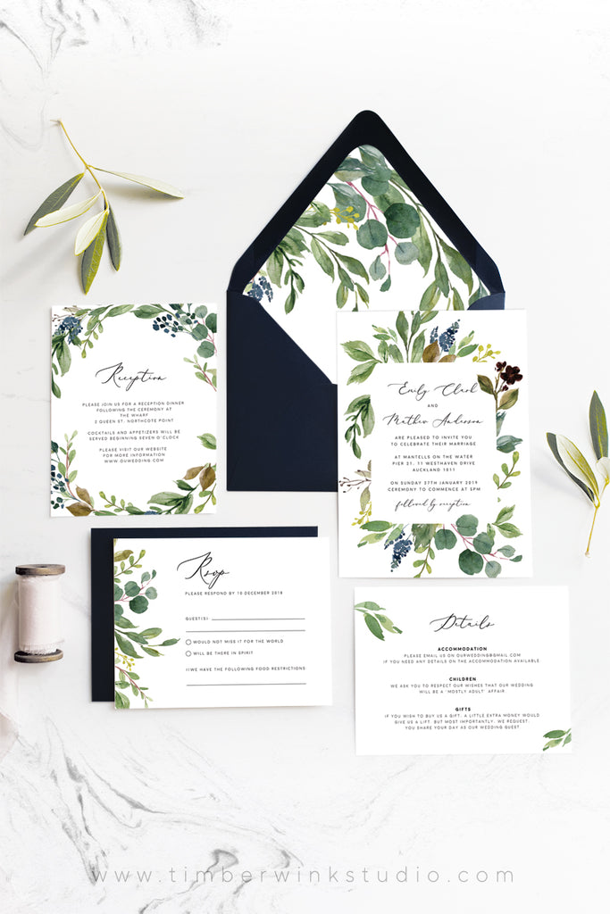 Greenery Eucalyptus Wedding Envelope Liner Printable Template Instant Download Templett PDF
