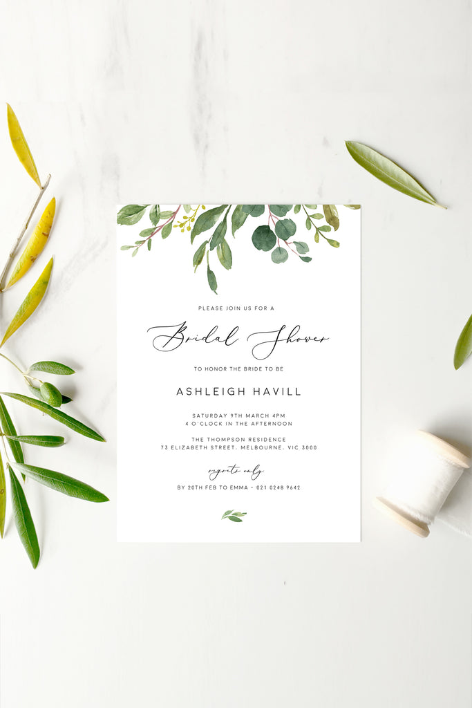 Greenery Wedding Bridal Shower Invitation Printable Template