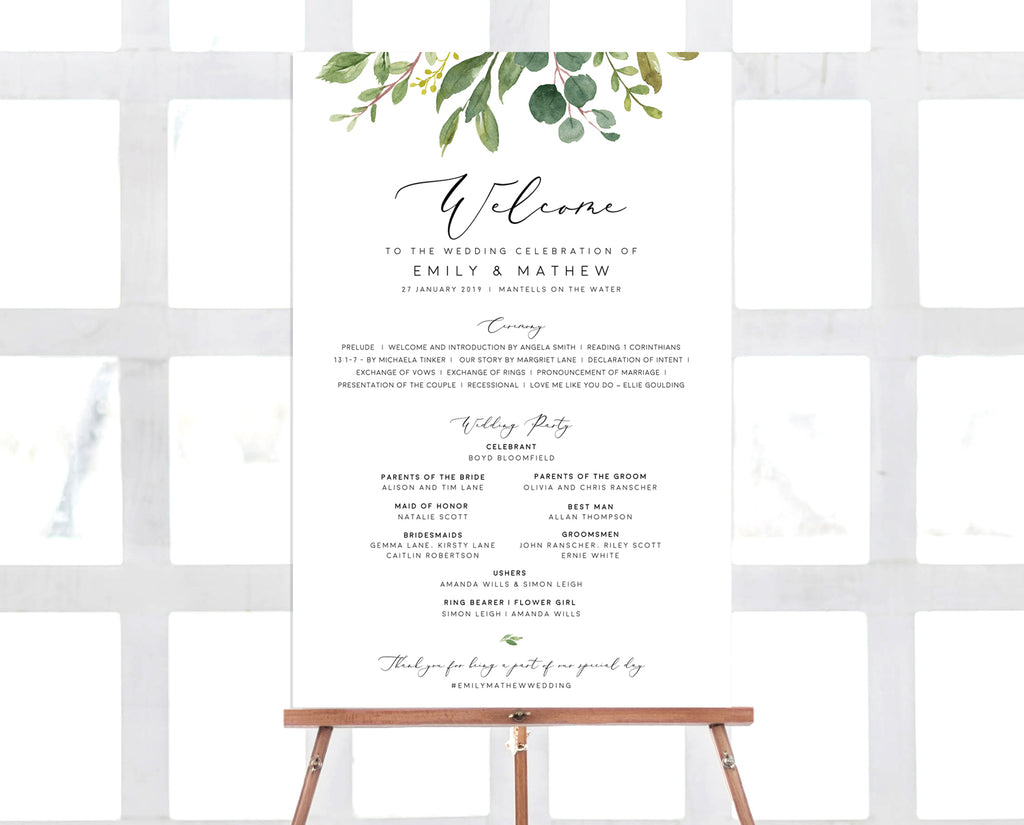 Greenery Eucalyptus Wedding Ceremony Program Sign Printable Template Instant Download PDF