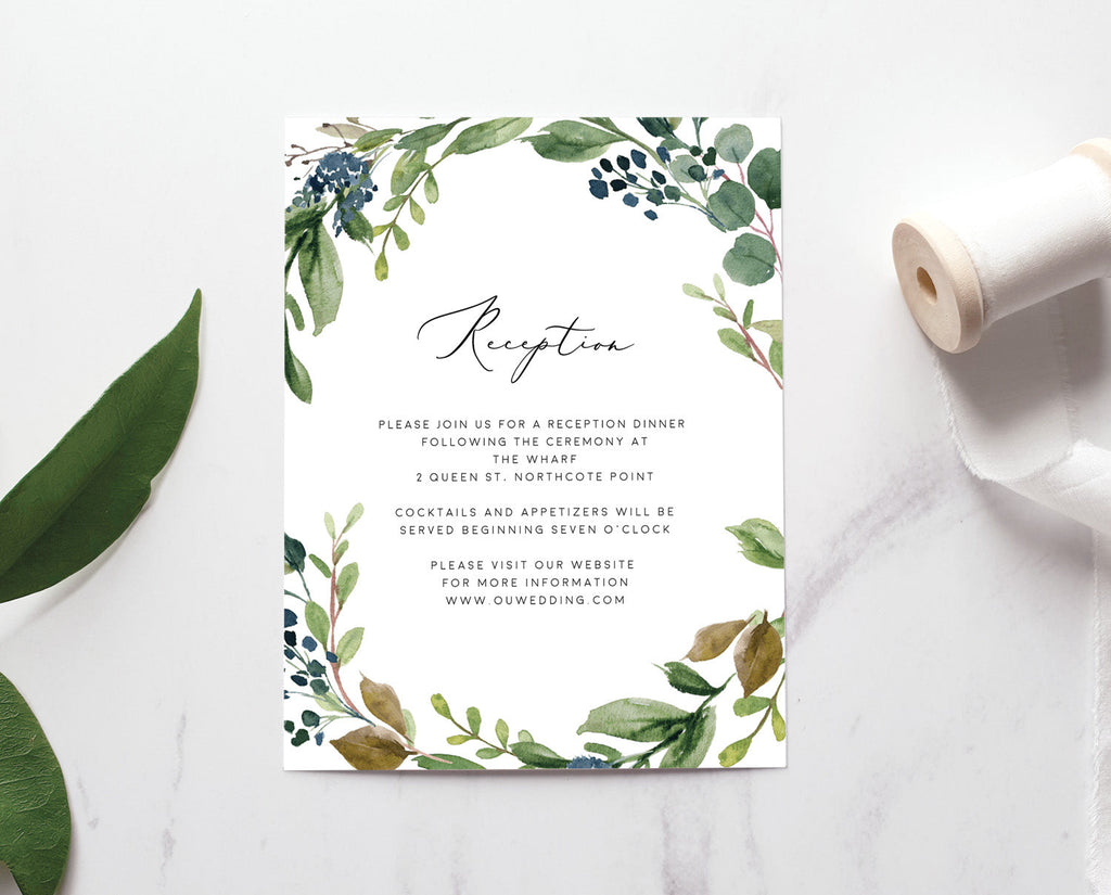Greenery Eucalyptus Wedding Reception Card Printable Template Instant Download Templett PDF