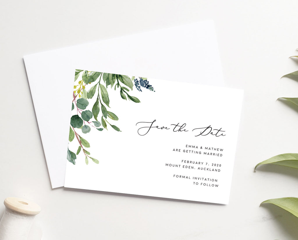 Greenery Save The Date Card Printable Template