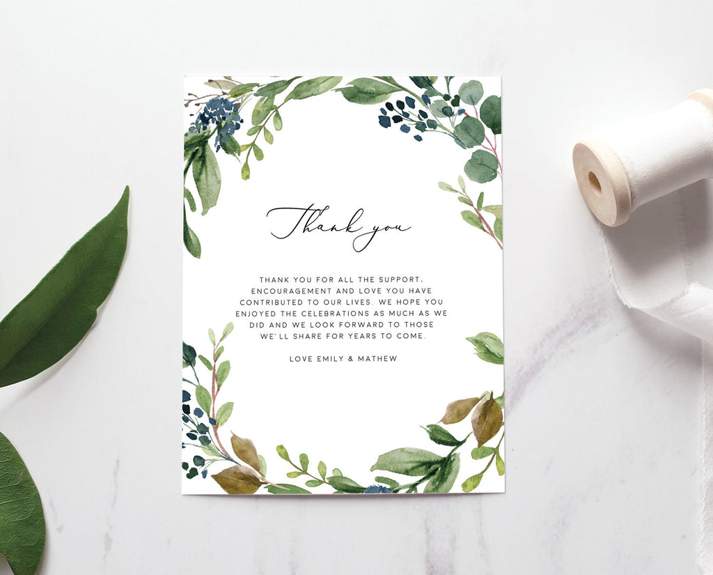 Greenery Eucalyptus Wedding Thank You Card Printable Template