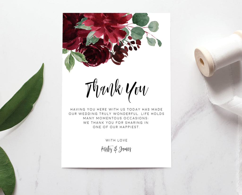 Burgundy Marsala Floral Greenery Wedding Thank You Card Printable Template Instant Download Templett 100% Editable PDF